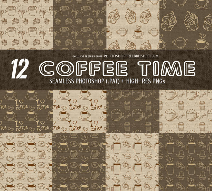 12 Coffee Pattern Backgrounds with Burlap Texture