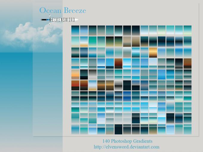 Adobe CC Photoshop Blue Gradation Free grd フォトショップ ブルー グラデーション 無料 素材 Ocean Breeze Ps Gradients