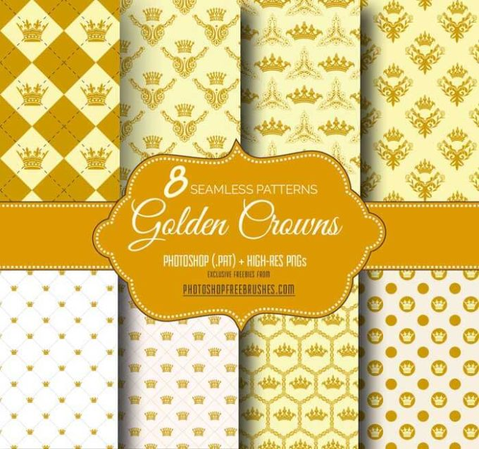 8 Golden Crown Seamless Pattern Backgrounds