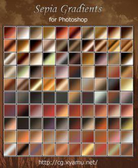 AdobeCC Photoshop Vintage Gradation Free grd フォトショップ ビンテージ グラデーション 無料 素材 Sepia Gradients