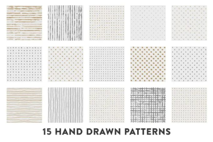 Free Hand Drawn Gold and Silver Patterns