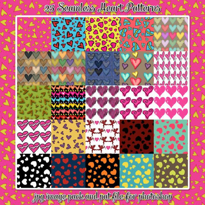 25 Seamless Heart Patterns