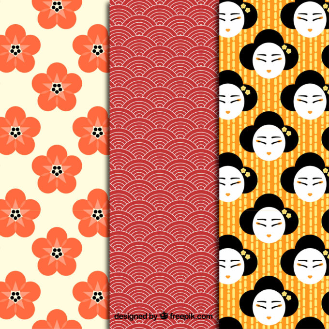 Japanese patterns Free Vector