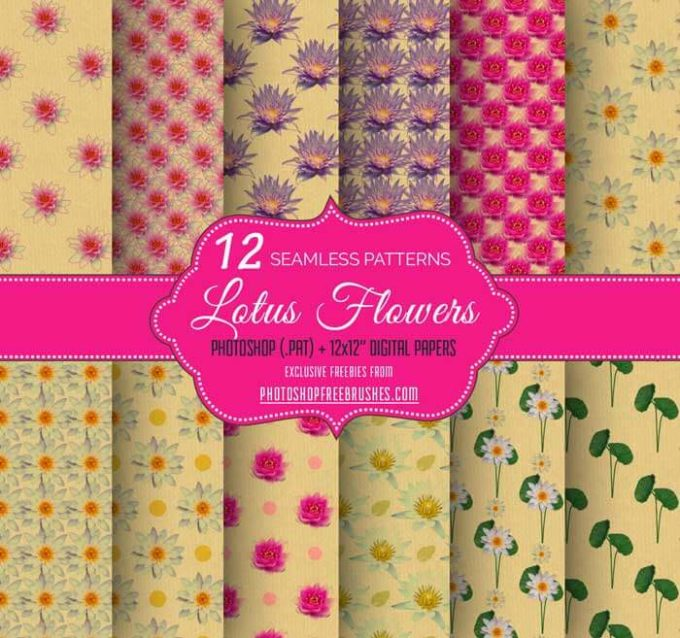 12 Lotus Flower Seamless Patterns on Brown Paper
