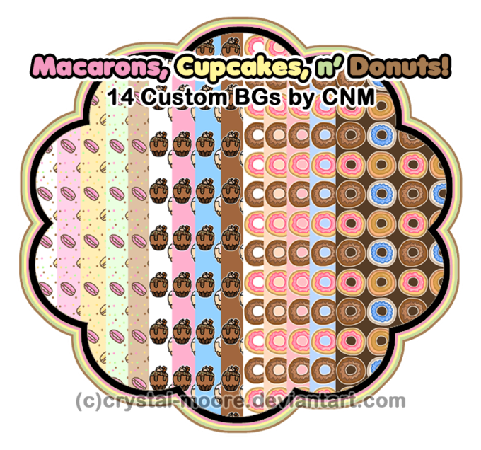Macaron, Cupcakes, and Donuts Custom BGs