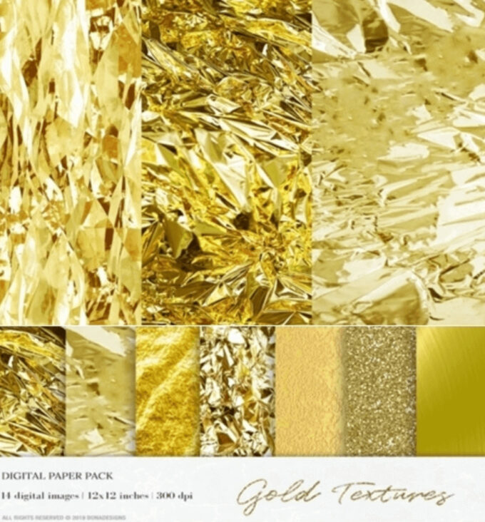 Adobe Photoshop Gold Texture Pattern Material フォトショップ ゴールド テクスチャー 無料 素材 フリーGold Foil Digital Paper, Gold Textures