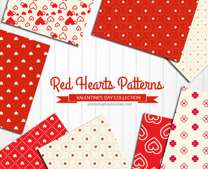 12 Free Red and Cream Hearts Patterns