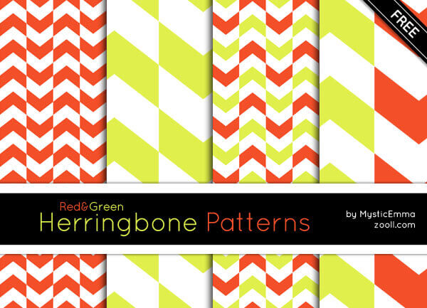 GOODIES: RED&GREEN HERRINGBONE PATTERNS