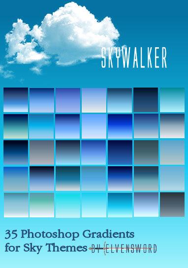 Adobe CC Photoshop Blue Gradation Free grd フォトショップ ブルー グラデーション 無料 素材 Skywalker PS