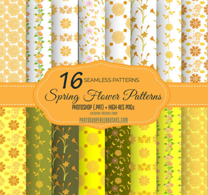 16 Yellow Flowers and Swirls Patterns