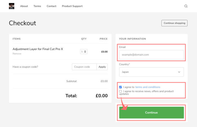 Adjustment Layer Checkout