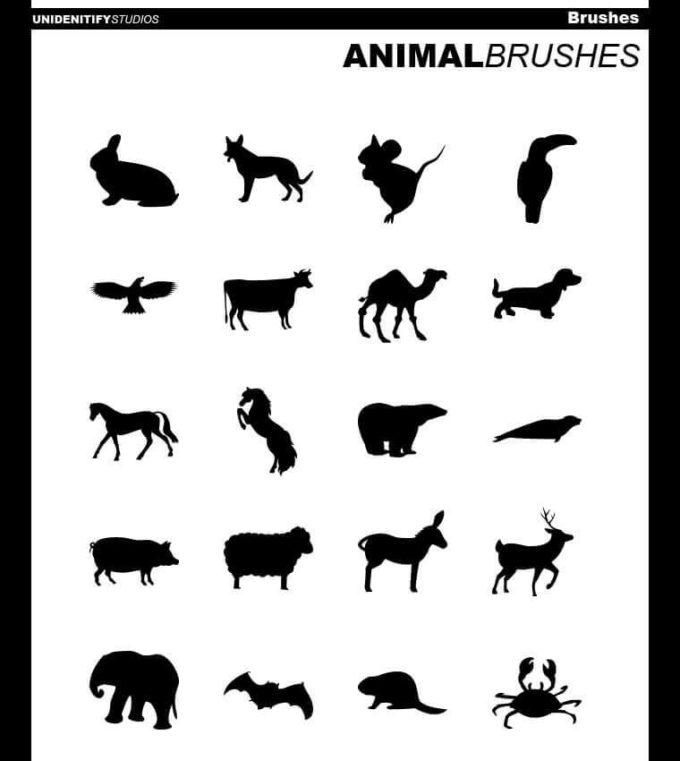 フォトショップ ブラシ Photoshop Animal Brush 無料 イラスト 動物 アニマル シルエット 20 Animal Brushes for PS