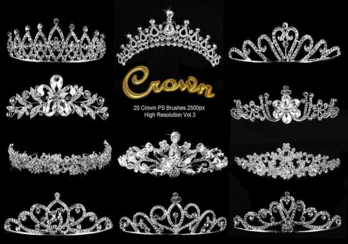 フォトショップ ブラシ Photoshop Crown Brush 無料 イラスト クラウン 冠 王冠 20 Crown PS Brushes Abr. Vol.3