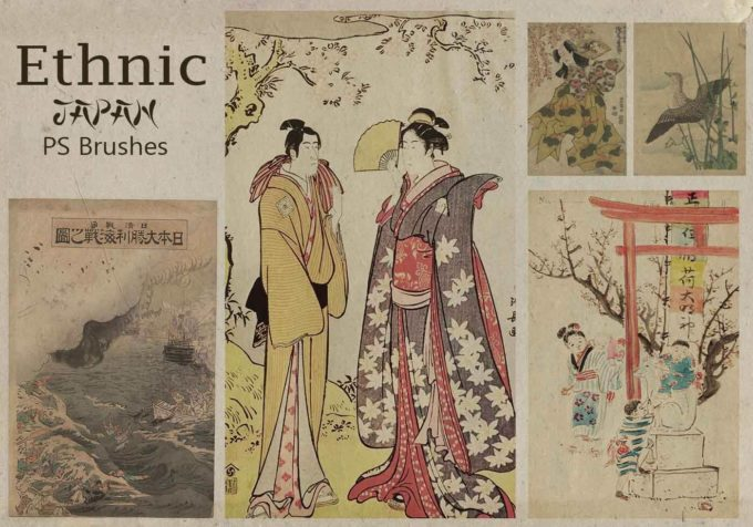 フォトショップ ブラシ Photoshop Japanese Brush 無料 イラスト 和 和風 和柄 20 Ethnic PS Brushes Abr. Vol.11