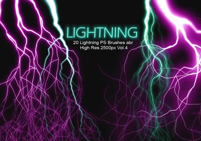 フォトショップ ブラシ Photoshop Brush 無料 Flower イラスト 雷 ライトニング 落雷 20 Lightning PS Brushes Abr Vol.4