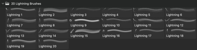 フォトショップ ブラシ Photoshop Brush 無料 Flower イラスト 雷 ライトニング 落雷 20 Lightning PS Brushes Abr Vol.3