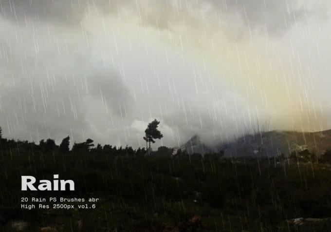 フォトショップ ブラシ Photoshop Brush 無料 イラスト RAIN レイン 雨  20 Rain PS Brushes Abr Vol.6