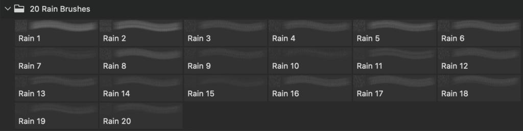 フォトショップ ブラシ Photoshop Brush 無料 イラスト RAIN レイン 雨 20 Rain PS Brushes Abr