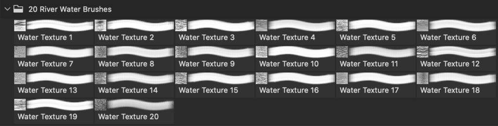 フォトショップ ブラシ Photoshop Brush 無料 イラスト 水 ウォーター 海 波 20 River Water Texture PS Brushes Abr