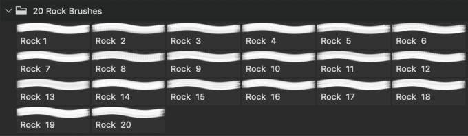 フォトショップ ブラシ Photoshop Brush 無料 イラスト ロック 岩 石 ストーン 20 Rock Texture PS Brushes Abr Vol.20