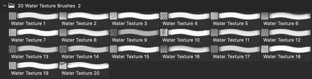 フォトショップ ブラシ Photoshop Brush 無料 イラスト 水 ウォーター 海 波 20 Sea Water Texture PS Brushes Abr Vol.5