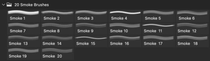 フォトショップ ブラシ Photoshop Brush 無料 イラスト 煙 スモーク 20 Smoke PS Brushes Abr. Vol.12