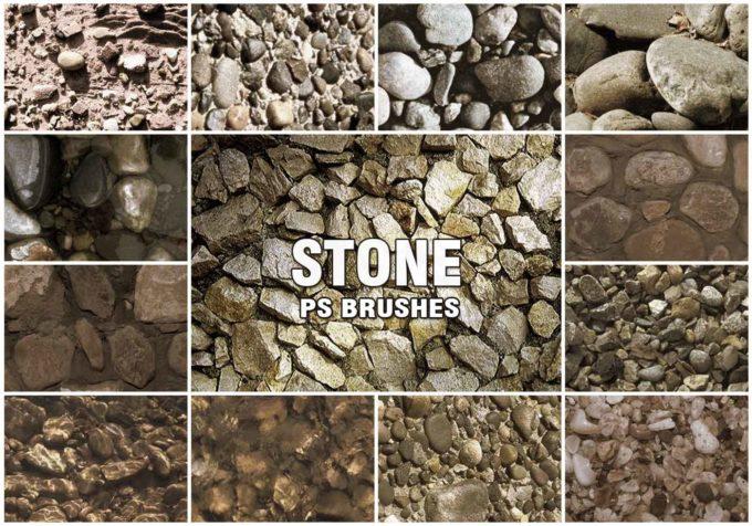 フォトショップ ブラシ Photoshop Brush 無料 イラスト ロック 岩 石 ストーン 20 Stone PS Brushes Abr. Vol.1