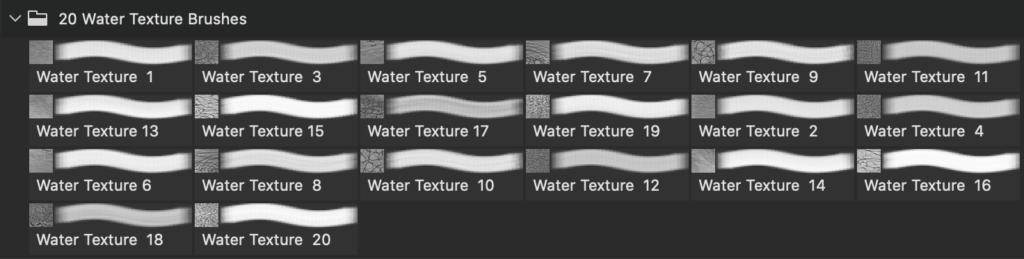 フォトショップ ブラシ Photoshop Brush 無料 イラスト 水 ウォーター 海 波 20 Sea Water Texture PS Brushes Abr