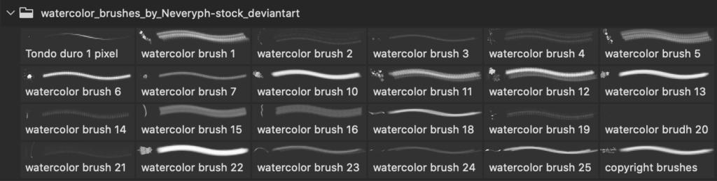 フォトショップ ブラシ Photoshop Brush 無料 イラスト 水彩 インク ペンキ 22 Watercolor Brushes