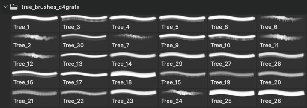 フォトショップ ブラシ Photoshop Brush 無料 植物 木 林 森 イラスト 30 PS HighRes Tree Brushes
