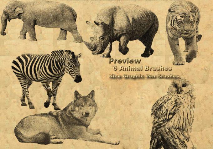 フォトショップ ブラシ Photoshop Animal Brush 無料 イラスト 動物 アニマル 6 Animal Brushes Made With Graphic Pen 2