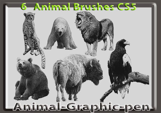 フォトショップ ブラシ Photoshop Animal Brush 無料 イラスト 動物 アニマル 6 Animal Graphic Pen Brushes