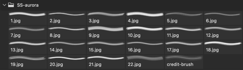 フォトショップ ブラシ Photoshop Brush 無料 イラスト 光 ビーム グリッター Aurora Borealis Photoshop and GIMP Brushes