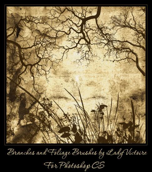 フォトショップ ブラシ Photoshop Brush 無料 植物 木 林 森 枝 イラスト Branches and Foliage Brushes