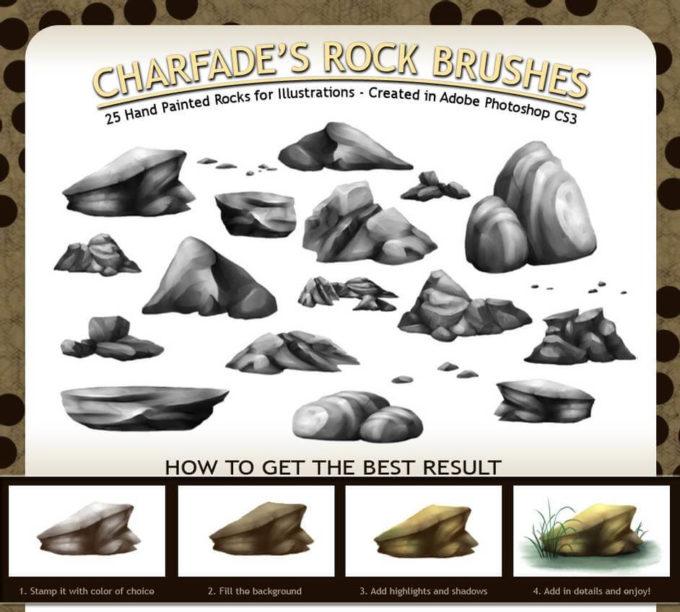 フォトショップ ブラシ 無料 石 岩 AfriCharfade's Rock Brushes