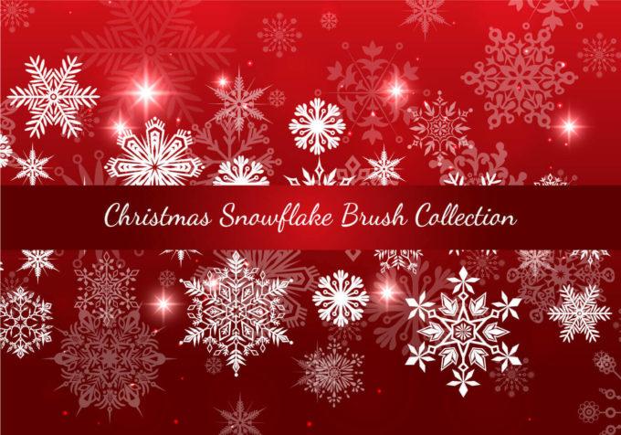 フォトショップ ブラシ Photoshop Brush 無料 イラスト クリスマス 雪 結晶 Christmas Snowflake Brush Collection