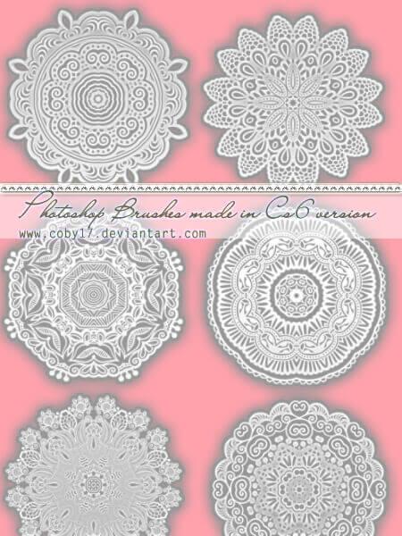 フォトショップ ブラシ Photoshop Lace Brush 無料 イラスト レース Circular Laces Photoshop Brushes