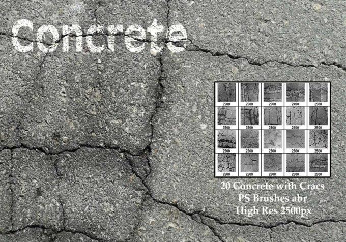 フォトショップ ブラシ Photoshop Brush 無料 イラスト クラック ひび割れ ヒビ 亀裂 Concrete With Cracks PS Brushes