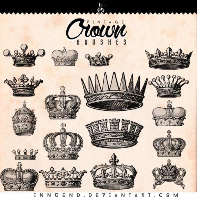 フォトショップ ブラシ Photoshop Crown Brush 無料 イラスト クラウン 冠 王冠 Crown Brushes
