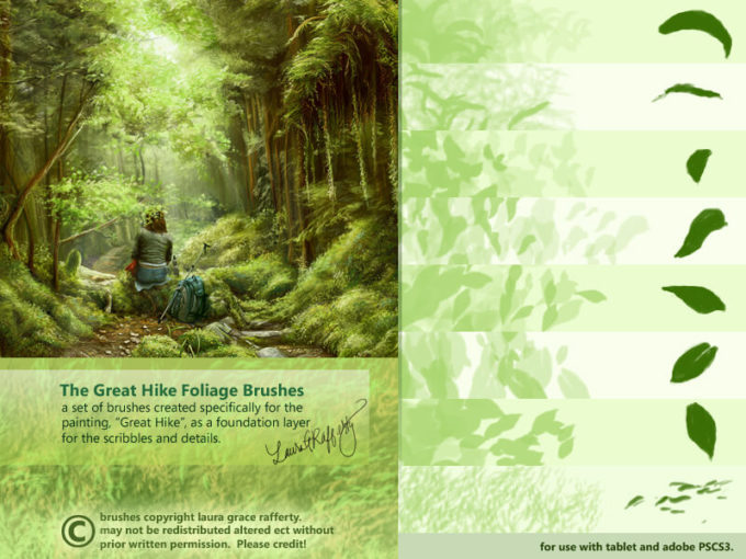 フォトショップ ブラシ Photoshop Brush 無料 植物 葉っぱ イラスト CS3 Great Hike Foliage Brushes