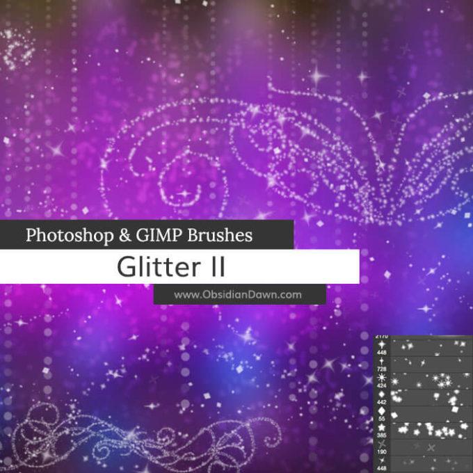 フォトショップ ブラシ Photoshop Brush 無料 イラスト 光 ビーム グリッター Glitter II Photoshop and GIMP Brushes