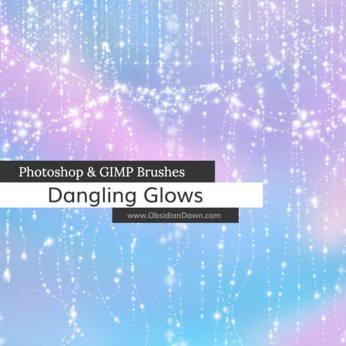 フォトショップ ブラシ Photoshop Brush 無料 イラスト 光 ビーム グリッター Dangling Glows Photoshop and GIMP Brushes