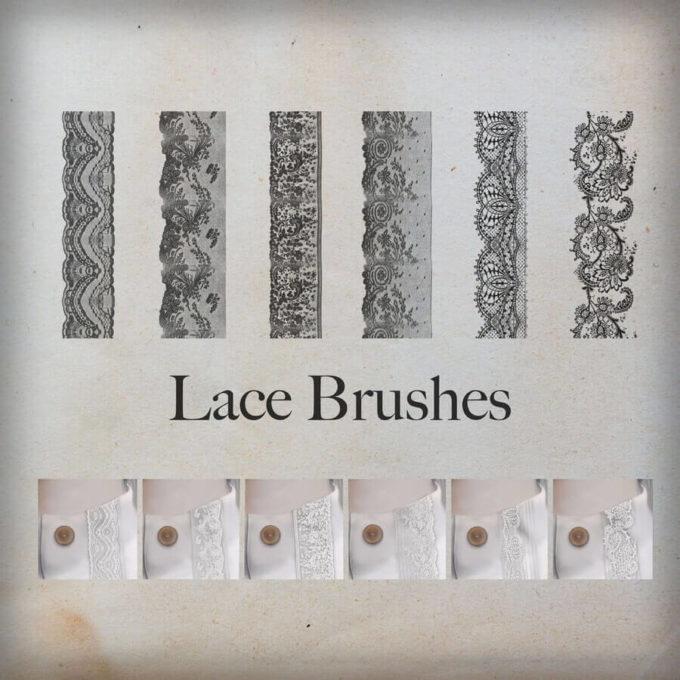 フォトショップ ブラシ Photoshop Lace Brush 無料 イラスト レース Lace Ornament Brushes