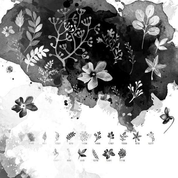 フォトショップ ブラシ Photoshop Brush 無料 イラスト 水彩 インク ペンキ 22 Dream Watercolor Floral Brushes