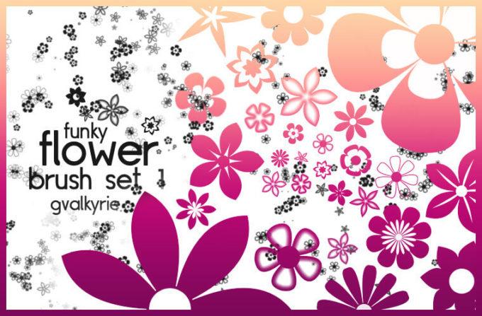 フォトショップ ブラシ Photoshop Brush 無料 Flower イラスト 花 フラワー Flower Brush Set 1
