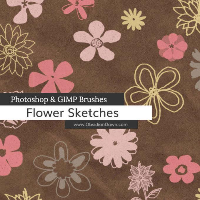 フォトショップ ブラシ Photoshop Brush 無料 Flower イラスト 花 フラワー Flower Sketches Photoshop and GIMP Brushes