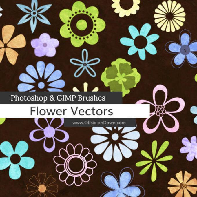 フォトショップ ブラシ Photoshop Brush 無料 Flower イラスト 花 フラワー Flower Vectors Photoshop and GIMP Brushes