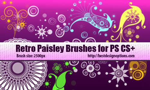 フォトショップ ブラシ Photoshop Retro Vintage Brush 無料 イラスト ヴィンテージ レトロ ペーズリー 16 Retro Paisley Designs Photoshop Brushes