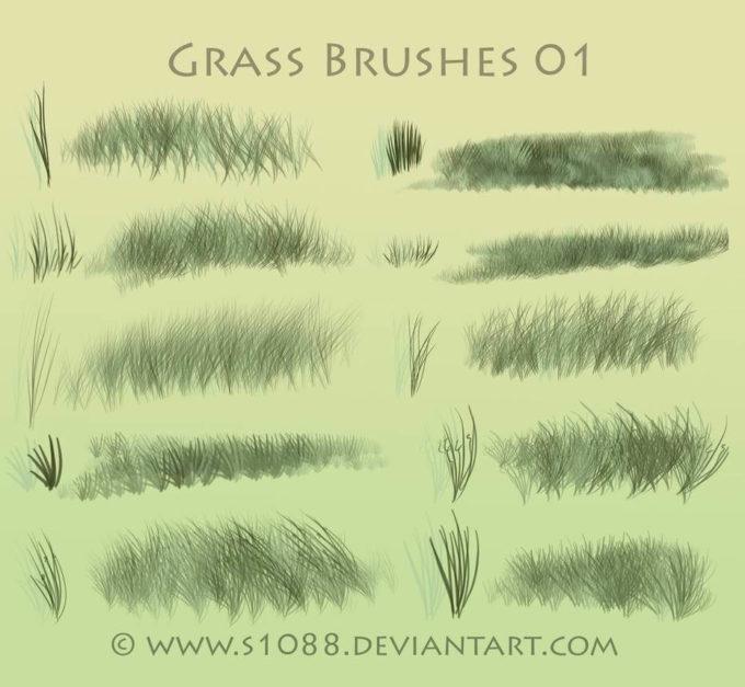 フォトショップ ブラシ Photoshop Brush 無料 イラスト 草 雑草 植物 葉 プランツ Free PS Grass Brushes