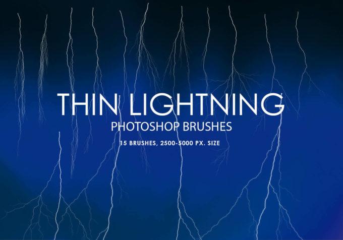 フォトショップ ブラシ Photoshop Brush 無料 Flower イラスト 雷 ライトニング 落雷 Free Thin Lightning Photoshop Brushes